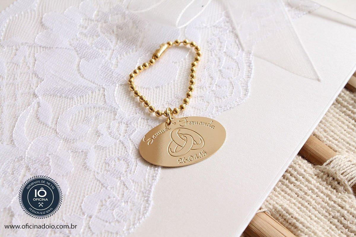 Medalha personalizada par casamento