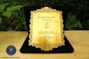 Convite para casamento banhado a ouro